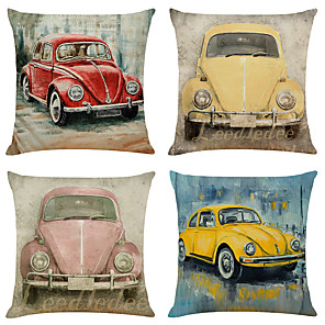 cheap Cushion Covers-Set of 4 Retro Car Linen Square Decorative Throw Pillow Cases Sofa Cushion Covers 18x18