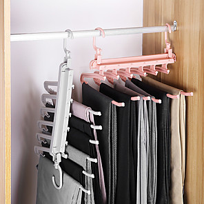 cheap Hooks&Fixtures-6 in 1 Multi-functional Trouser Storage Rack Adjustable Pants Tie Storage Shelf Closet Organizer Stainless Steel Clothes Hanger