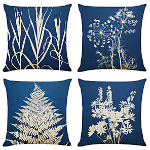 cheap Cushion Covers-Set of 4 Simple Art Plant Linen Square Decorative Throw Pillow Cases Sofa Cushion Covers 18x18