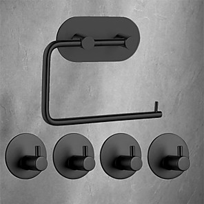 cheap Bathroom Accessory Set-Adhesive Hooks Bathroom Accessories Set Towel Hook Tissue Holder High-strength Nail-free Sticker Matte Black Brushed Finished Towel Holder Rack 4pcs Robe Hook 1 Paper Holder Removable