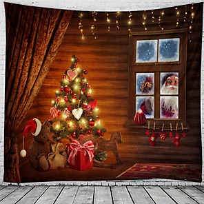 cheap Wall Tapestries-Christmas Santa Claus Holiday Party Wall Tapestry Art Decor Blanket Curtain Picnic Tablecloth Hanging Home Bedroom Living Room Dorm Decoration Window Gift Snow Tree Polyester
