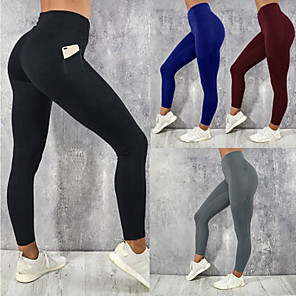 cheap Women's Running Tights & Leggings-Women's Running Tights Leggings Compression Pants Street Tights Leggings Bottoms with Phone Pocket Winter Fitness Gym Workout Running Jogging Training Breathable Quick Dry Soft Sport Solid Colored