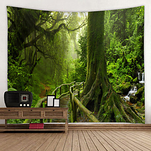 cheap Wall Tapestries-Old Wood Trail With Moss Digital Printed Tapestry Classic Theme Wall Decor 100% Polyester Contemporary Wall Art Wall Tapestries Decoration