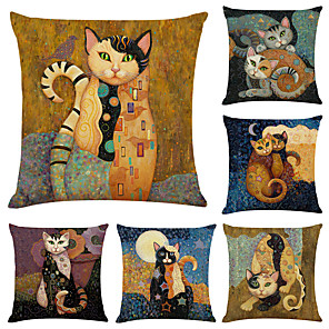cheap Pillow Covers-Cushion Cover 6PC Linen Soft Decorative Square Throw Pillow Cover Cushion Case Pillowcase for Sofa Bedroom 45 x 45 cm (18 x 18 Inch) Superior Quality Mashine Washable