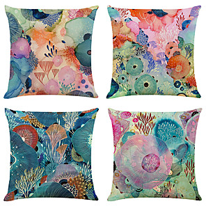 cheap Cushion Covers-Set of 4 Colorful Sea World Linen Square Decorative Throw Pillow Cases Sofa Cushion Covers 18x18