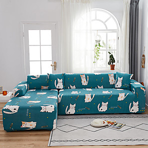 cheap Sofa Cover-Cat Print 1-Piece Sofa Cover Couch Cover Furniture Protector Soft Stretch Sofa Slipcover Spandex Jacquard Fabric Super Fit for 1~4 Cushion Couch and L Shape Sofa,Easy to Install(1 Free Cushion Cover)