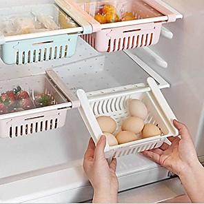 cheap Jars & Boxes-fridge drawer organizer, 3 pack retractable drawer refrigerator storage box, unique design pull out bins, fridge shelf holder storage box, small size, fit for fridge shelf under 0.5 inch …