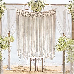 "cheap Dreamcatcher-Hand Woven Macrame Wall Tapestry Bohemian Boho Art Decor Hanging Wedding Backdrop Home Bedroom Living Room Decoration Nordic Handmade Tassel Cotton 39""x 33"""