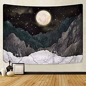 cheap Wall Tapestries-mountain tapestry moon stars tapestry starry night sky tapestries nature wall tapestrys black mountain tapestry wall hanging for room(70.9 x 92.5 inches)