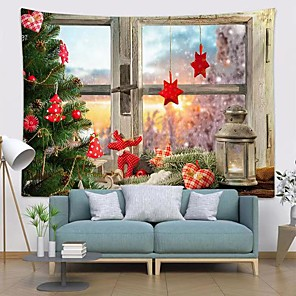 cheap Wall Tapestries-Christmas Santa Claus Holiday Party Wall Tapestry Art Decor Blanket Curtain Picnic Tablecloth Hanging Home Bedroom Living Room Dorm Decoration Window Gift Snow Polyester