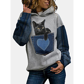cheap Women's Tops-Women's Pullover Hoodie Sweatshirt Cat Graphic Color Block Daily Christmas Hoodies Sweatshirts  Blue Gray