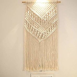 "cheap Dreamcatcher-Hand Woven Macrame Wall Tapestry Bohemian Boho Art Decor Blanket Curtain Hanging Home Bedroom Living Room Decoration Nordic Handmade Tassel Cotton 32"" x 16"""