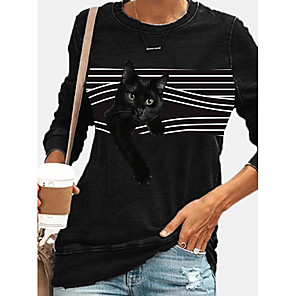 cheap Women's Tops-Women's Pullover Sweatshirt Striped Cat Graphic Daily Casual Hoodies Sweatshirts  Black