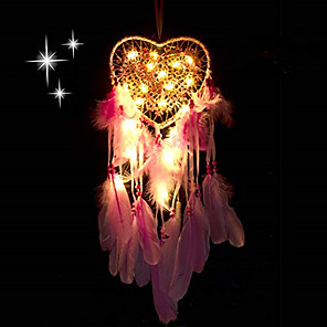 cheap Dreamcatcher-dream catcher handmade led light heart shape feather design dreamcatchers for wall hanging decor home decoration festival gift - pink