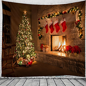 cheap Wall Tapestries-Christmas Santa Claus Holiday Party Wall Tapestry Art Decor Blanket Curtain Picnic Tablecloth Hanging Home Bedroom Living Room Dorm Decoration Christmas Tree Sock Fireplace