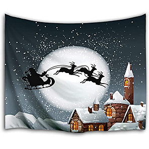 cheap Wall Tapestries-Christmas Santa Claus Holiday Party Wall Tapestry Art Decor Blanket Curtain Picnic Tablecloth Hanging Home Bedroom Living Room Dorm Decoration Christmas Elk Snowflake Gift Polyester Moon Views