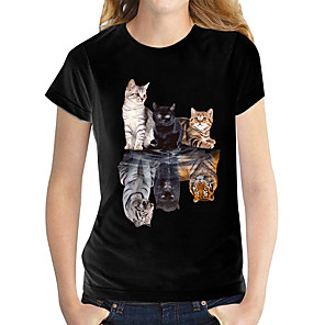 cheap Women's Tops-Women's T shirt Butterfly Graphic Prints Round Neck Tops Slim 100% Cotton Basic Top Black and White Cat White
