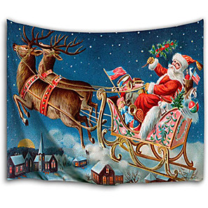 cheap Wall Tapestries-Christmas Santa Claus Holiday Party Wall Tapestry Art Decor Blanket Curtain Picnic Tablecloth Hanging Home Bedroom Living Room Dorm Decoration Christmas Elk Gift Polyester Views