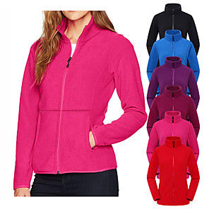 cheap Women's Hiking Jackets-Women's Hiking Jacket Hiking Fleece Jacket Winter Outdoor Solid Color Thermal Warm Windproof Breathable Warm Jacket Winter Fleece Jacket Top Fleece Single Slider Camping / Hiking Hunting Ski