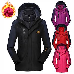 cheap Women's Hiking Jackets-Women's Hiking Jacket Hoodie Jacket Hiking 3-in-1 Jackets Winter Outdoor Thermal Warm Waterproof Windproof Detachable Fleece Jacket 3-in-1 Jacket Winter Jacket Fleece Waterproof Rain Proof Full