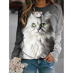 cheap Women's Tops-Women's Pullover Sweatshirt Graphic Animal Daily Basic Casual Hoodies Sweatshirts  Gray