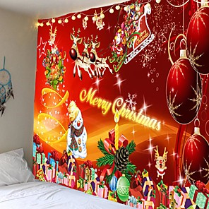 cheap Wall Tapestries-Santa Claus Holiday Party Wall Tapestry Art Decor Blanket Curtain Picnic Tablecloth Hanging Home Bedroom Living Room Dormitory Decoration Elk Christmas Gift Snowman Carnival