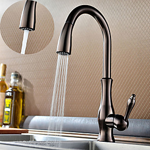 cheap Kitchen Faucets-Kitchen faucet - One Hole Oil-rubbed Bronze multi-angle stretchable / High Arc Deck Mounted Traditional Kitchen Taps / Brass / Single Handle