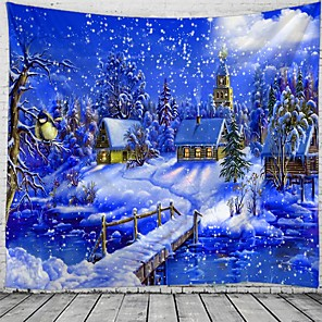 cheap Wall Tapestries-Christmas Santa Claus Holiday Party Wall Tapestry Art Decor Blanket Curtain Picnic Tablecloth Hanging Home Bedroom Living Room Dorm Decoration Christmas Tree Gift Fireplace