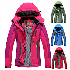 cheap Women's Hiking Jackets-Women's Hoodie Jacket Hiking Jacket Hiking Windbreaker Outdoor Patchwork Thermal Warm Waterproof Windproof Breathable Jacket Hunting Ski / Snowboard Fishing Red Fuchsia Blue Green / Quick Dry