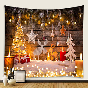 cheap Wall Tapestries-Christmas Santa Claus Holiday Party Wall Tapestry Art Decor Blanket Curtain Picnic Tablecloth Hanging Home Bedroom Living Room Dorm Decoration Christmas Gift Elk Snowflake Polyester Beauty Views