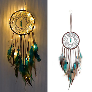 cheap Dreamcatcher-Dream catcher Led Handmade Dreamcatcher Feathers Night Light dream catchers Wall Hanging Home Room decoration