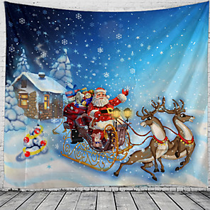 cheap Wall Tapestries-Christmas Santa Claus Holiday Party Wall Tapestry Art Decor Blanket Curtain Picnic Tablecloth Hanging Home Bedroom Living Room Dorm Decoration Christmas Tree Santa Elk Sleigh
