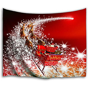 cheap Wall Tapestries-Christmas Santa Claus Holiday Party Wall Tapestry Art Decor Blanket Curtain Picnic Tablecloth Hanging Home Bedroom Living Room Dorm Decoration Christmas Gift Elk Polyester Red Views