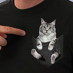 economico Maglie donna-Per donna maglietta Gatto 3D Stampe astratte Con stampe Rotonda Top Essenziale Top basic Bianco Nero