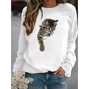 cheap Women's Tops-Women's Pullover Sweatshirt Cat Graphic 3D Cartoon Casual Daily Other Prints Basic Hoodies Sweatshirts  White Yellow Blushing Pink