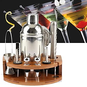 cheap Barware-Insulated Cocktail Shaker Mixer Bartender Kit 12pcs 750ml/11pcs 750ml/27pcs 550ml Stainless Steel Bar Tool Set with Stylish Bamboo Stand Perfect Home Bartending Kit and Martini Cocktail Set