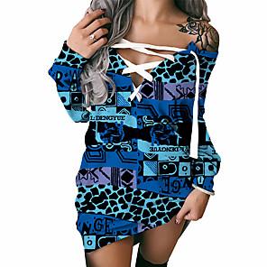 cheap Women's Dresses-Women's Shift Dress Short Mini Dress Long Sleeve Print Lace up Patchwork Print Fall Winter Plus Size Sexy 2021 Blue S M L XL XXL 3XL