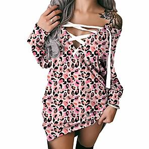cheap Women's Dresses-Women's Shift Dress Short Mini Dress Long Sleeve Leopard Lace up Patchwork Print Fall Winter Plus Size Sexy 2021 Blushing Pink S M L XL XXL 3XL