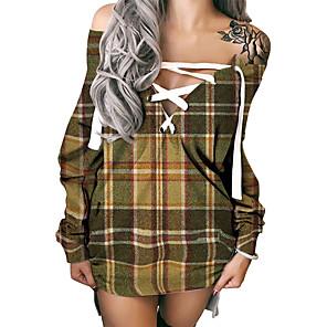 cheap Women's Dresses-Women's Shift Dress Short Mini Dress Long Sleeve Plaid Print Fall Summer Hot Sexy 3D Print Khaki S M L XL XXL 3XL