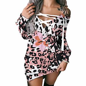cheap Women's Dresses-Women's Shift Dress Short Mini Dress Long Sleeve Printed Lace up Print Fall Spring Sexy 2021 Blushing Pink S M L XL XXL 3XL