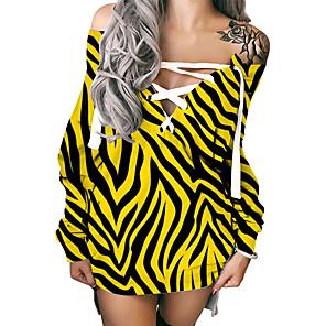cheap Women's Dresses-Women's Shift Dress Short Mini Dress Long Sleeve Striped Print Fall Summer Hot Sexy 3D Print Yellow S M L XL XXL 3XL