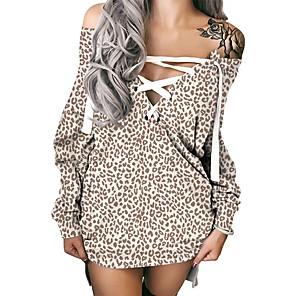cheap Women's Dresses-Women's Shift Dress Short Mini Dress Long Sleeve Leopard Lace up Patchwork Print Fall Winter Plus Size Sexy 2021 Gray S M L XL XXL 3XL