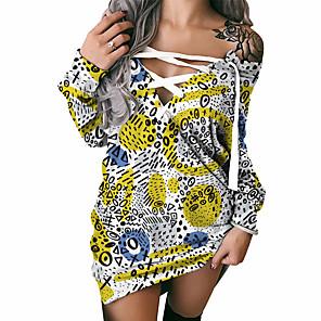 cheap Women's Dresses-Women's Shift Dress Short Mini Dress Long Sleeve Printed Lace up Print Fall Spring Sexy 2021 Yellow S M L XL XXL 3XL