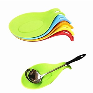 cheap Kitchen Utensils & Gadgets-Silicone Spoon Insulation Mat 8pcs Silicone Heat Resistant Placemat Drink Glass Coaster Tray Spoon Pad Kitchen Tool Random Color for Restaurant Home Cook 5pcs 3pcs 1pc