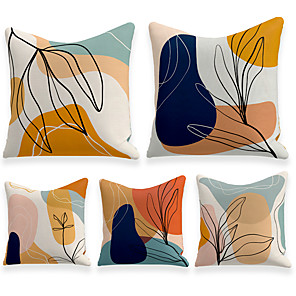 cheap Pillow Covers-Cushion Cover 5PCS Linen Soft Decorative Square Throw Pillow Cover Cushion Case Pillowcasefor Sofa Bedroom  Superior Quality Mashine Washable Outdoor Cushion for Sofa Couch Bed Chair