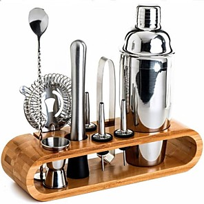 cheap Kitchen Utensils & Gadgets-Insulated Cocktail Shaker Mixer Bartender Kit 10pcs Cocktail Shaker Mixer Stainless Steel 550ml Bar Tool Set with Stylish Bamboo Stand Perfect Home Bartending Kit and Martini Cocktail Shaker Set