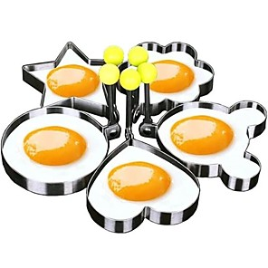 cheap Kitchen Utensils & Gadgets-5pcs Set Fried Egg Mold Pancake Rings Shaped Omelette Mold Mould Frying Egg Cooking Tools Kitchen Supplies Accessories Gadget