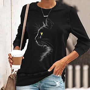 economico Maglie donna-Per donna maglietta Gatto Pop art Manica lunga Con stampe Rotonda Top Essenziale Top basic Nero