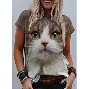 economico Maglie donna-Per donna maglietta Gatto Pop art 3D Con stampe Rotonda Top Essenziale Top basic Bianco Blu Arancione