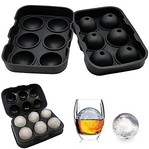 cheap Barware-6 Ice Ball Maker Silicone Mold Leak Proof Closure Silicone Ice Tray